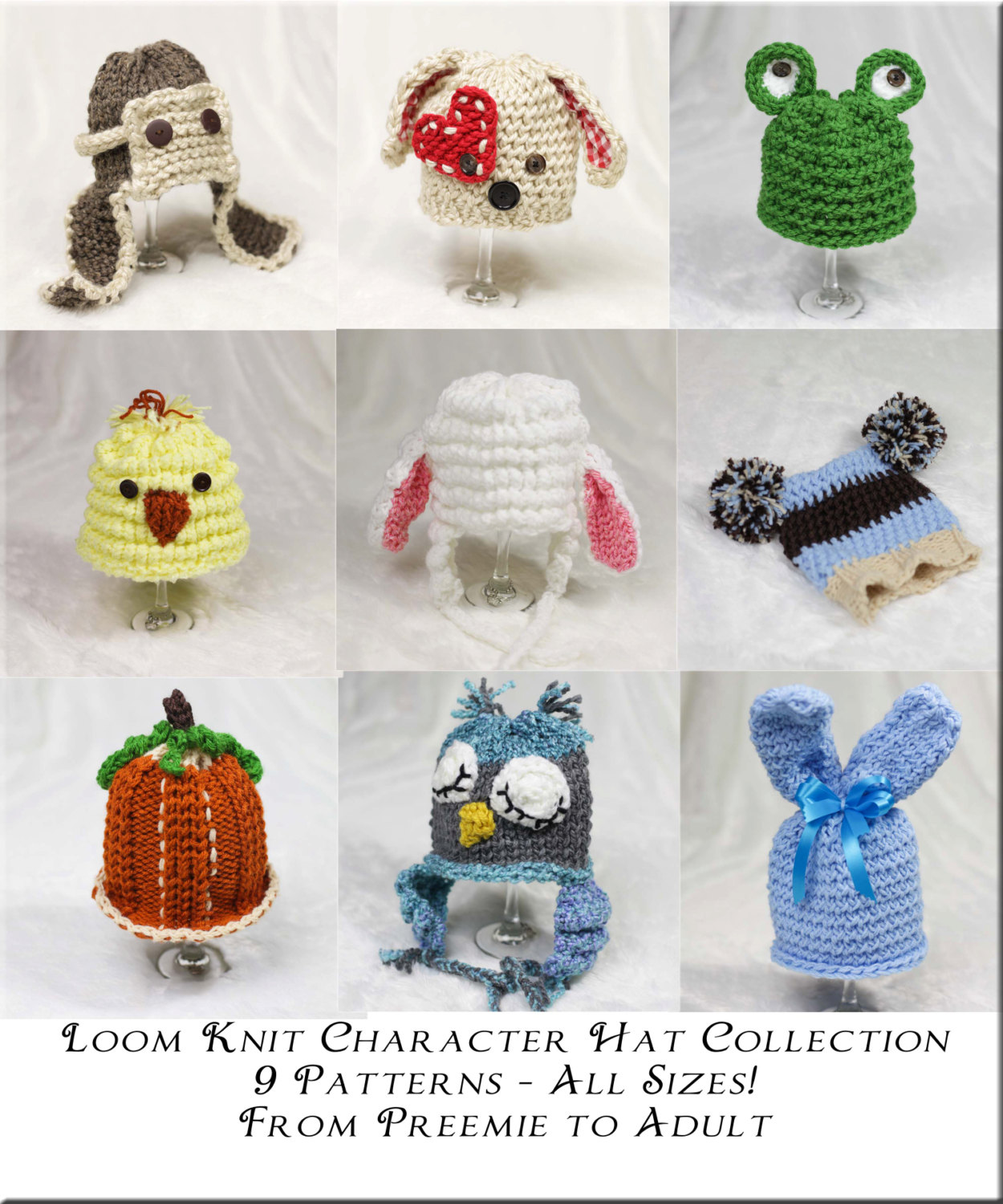 Loom Knit Character Hat Collection; 9 Patterns Included. | This ...