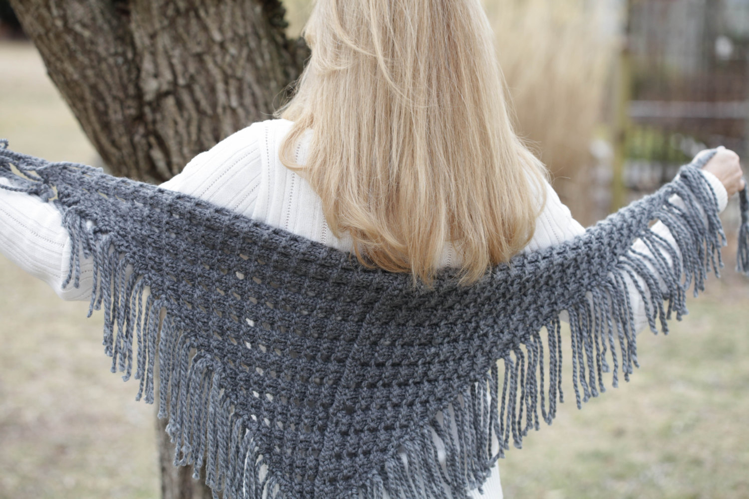 LOOM KNIT EYELET TRIANGLE SHAWL PATTERN. LACE SCARF PATTERN. | This ...