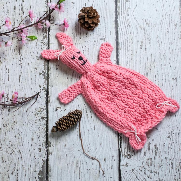 Loom Knit Bunny Lovey Pattern, Bunny Blanket Toy PDF ...