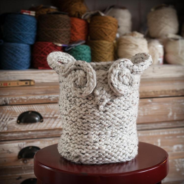 Loom Knit Owl Basket PATTERN, Yarn Basket, Catch-All