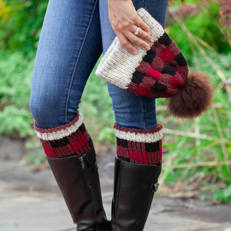Loom Knit Buffalo Plaid Hat Boot Toppers Pattern Set This
