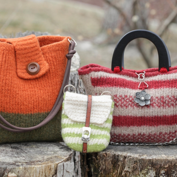 LOOM KNIT HANDBAG PATTERNS LOOM KNIT PURSE, LOOM KNIT TOTE, FELTED, LOOM KNIT BU