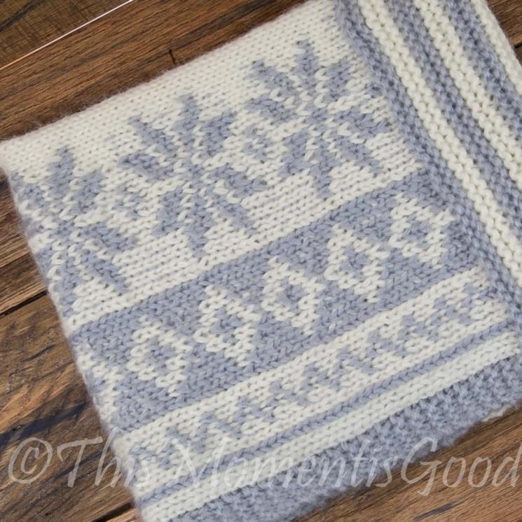 Loom Knit Fair Isle Cowl PATTERN. Loom Knit Snowflake Cowl, Scarf Pattern.