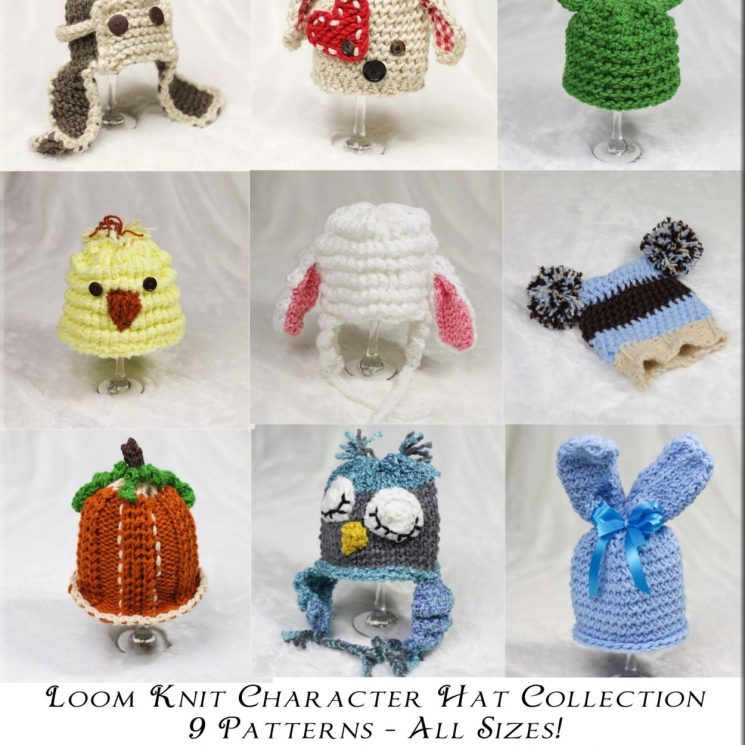 Loom Knit Character Hat Collection 9 Patterns Included This