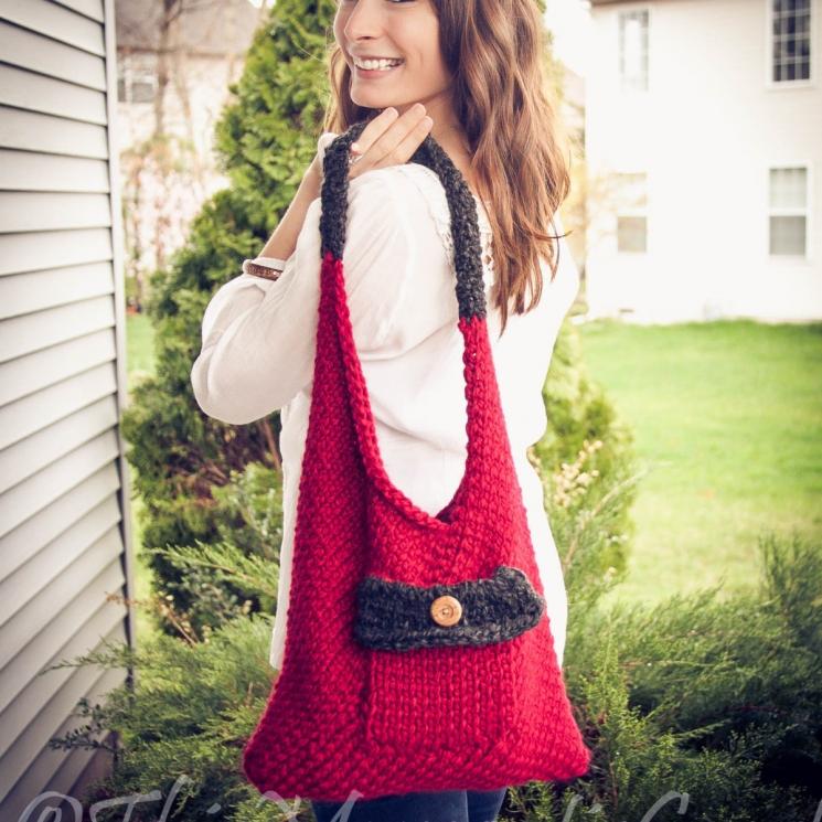 Loom Knit Sling/Bento Bag, Handbag, purse PATTERN. Beginner loom knit handbag pa
