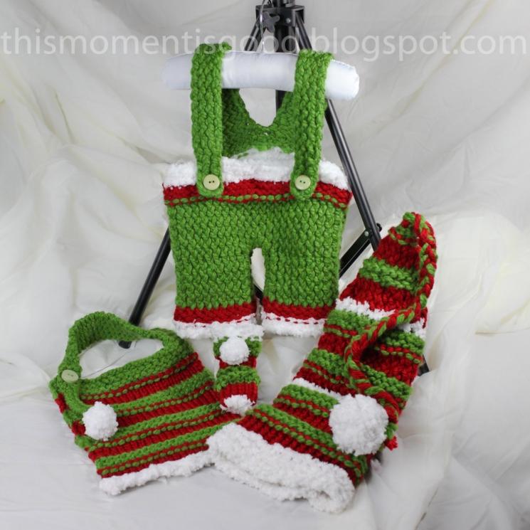 Loom Knit Overall Pattern, booties, bib and Elf Hat Pattern Set