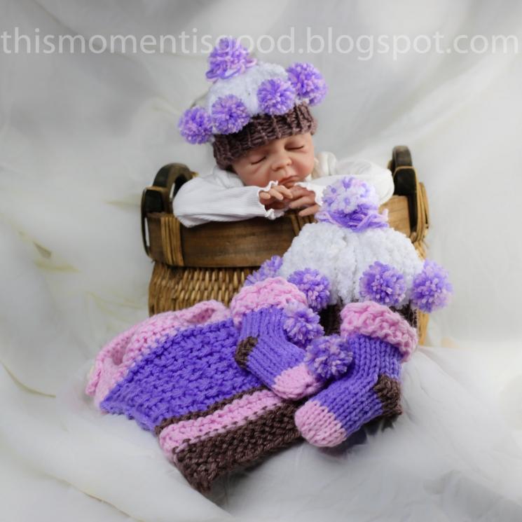 Loom Knit Cupcake Hat & Booties and Bib Pattern
