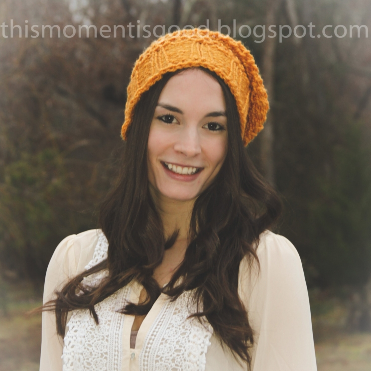 LOOM KNIT SLOUCHY HAT BERET PATTERN WITH CROCHET LOOK