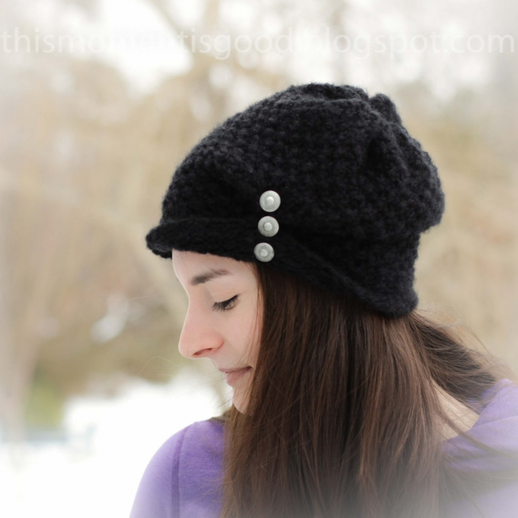 Loom Knit Ladies Folded Brim Hat With Buttons Pattern This