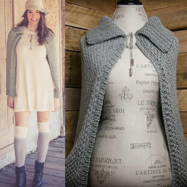 Loom Knit Cape Pattern, loom knit wrap, shawl, pattern. Full length loom knit Ca