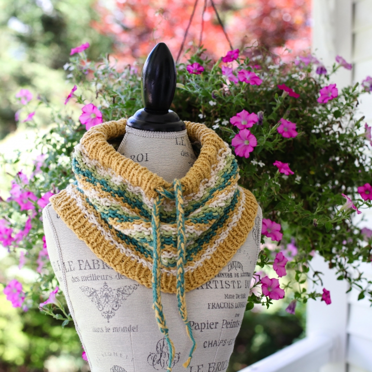 Loom Knit Drawstring Cowl Pattern, Cotton Neckwarmer. This Moment is Good