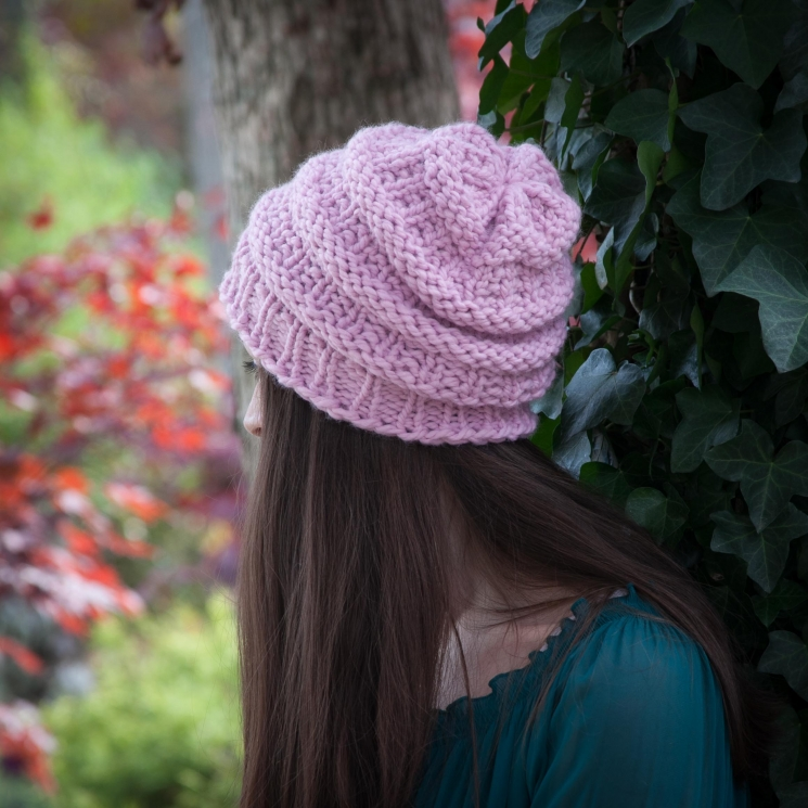 Loom Knit Hat Pattern Slouch Hat Beanie Textured Bulky