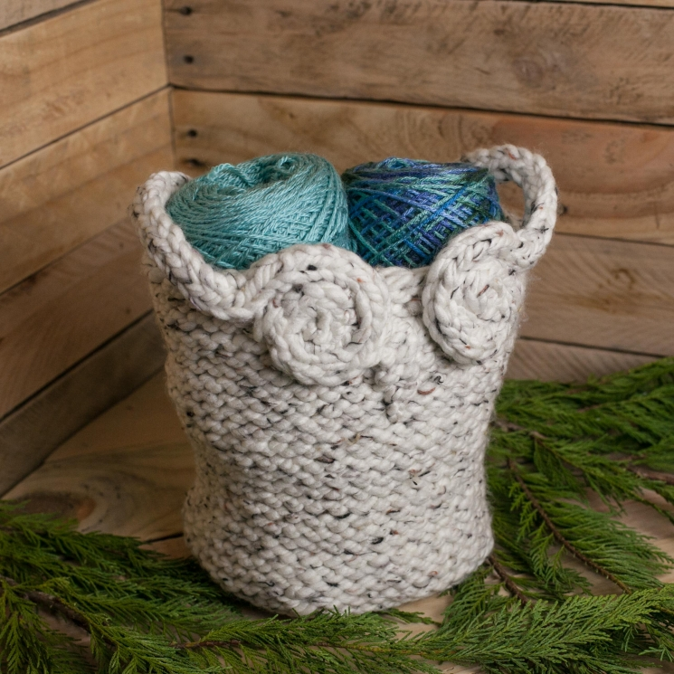Loom Knit Owl Basket PATTERN, Yarn Basket, Catch-All Basket, Container, Loom Kni