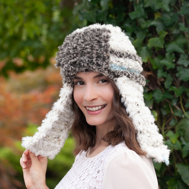 Loom Knit Faux Fur Trapper Hat and Cowl PDF PATTERN. Ultra-soft, luxury Neckwarm