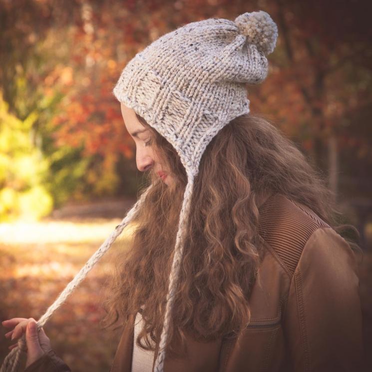Loom Knit Earflap Hat Pattern Split Brim Hat Bulky Chunky Knit