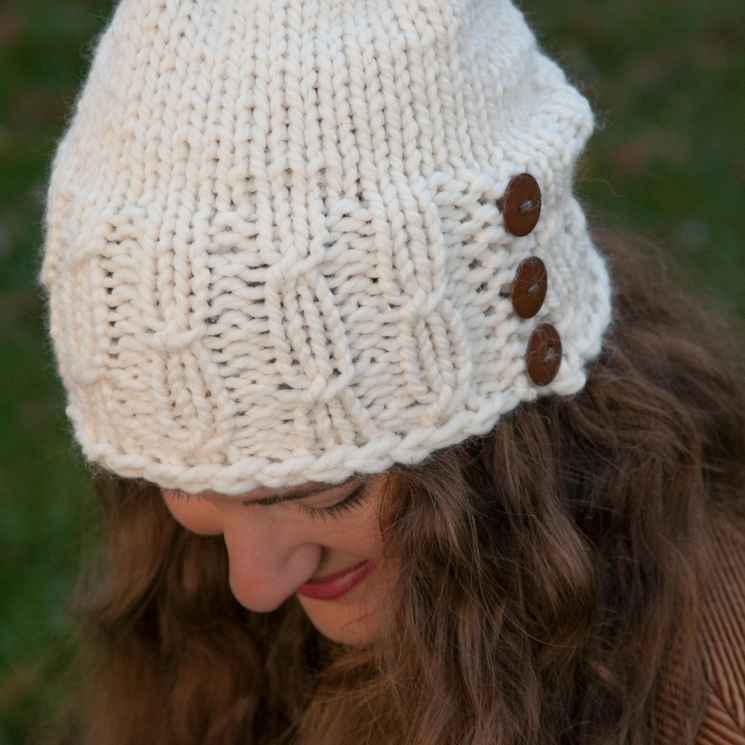 Loom Knit Hat Pattern, Meadowlands Staggered Cable Hat PATTERN, Bulky Hat Patter