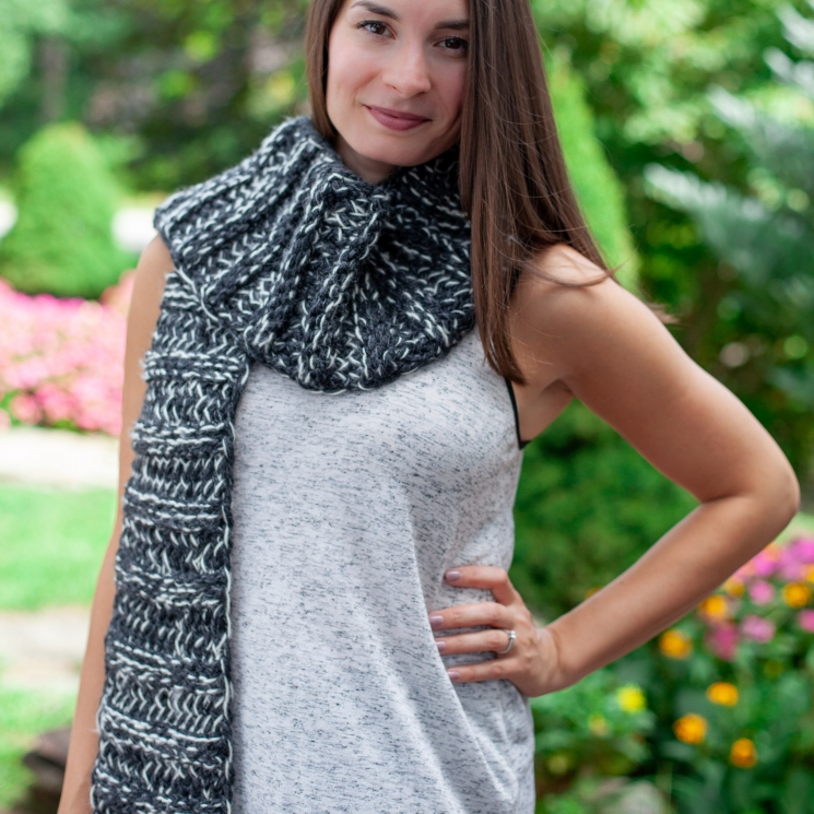 Loom knit, chunky, extra warm, black and white, trendy scarf.