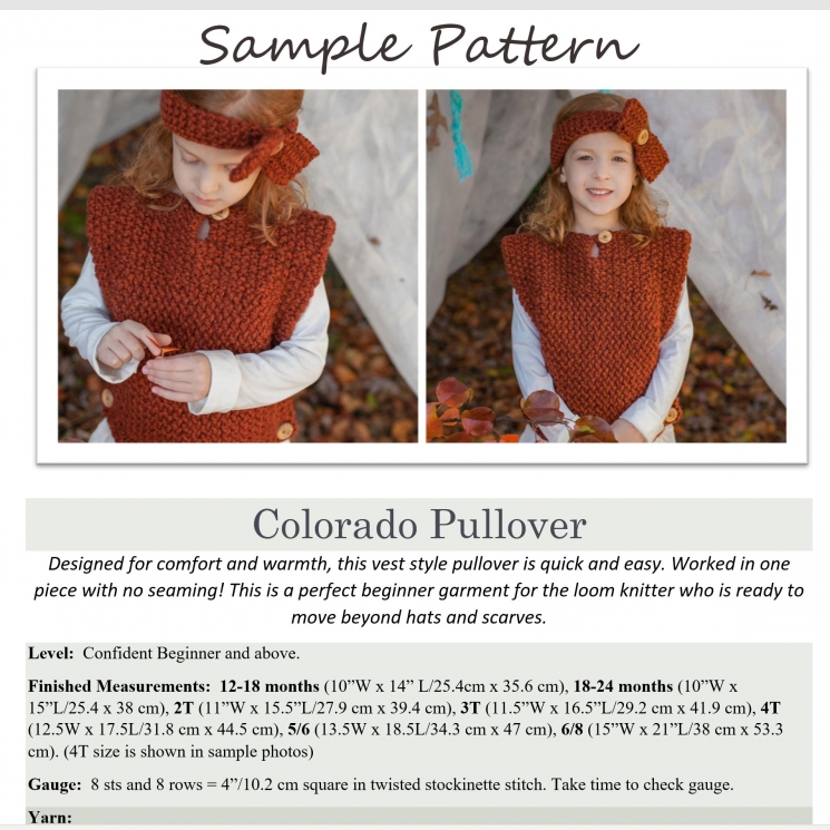 Loom Knit Pullover Vest PDF PATTERN. Colorado Pullover and Headband (Sizes 12-18