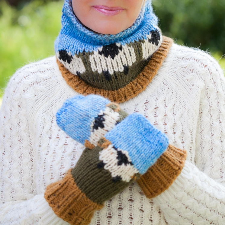 Loom Knit Sheep Themed Hat Mitten And Cowl Pattern Set This