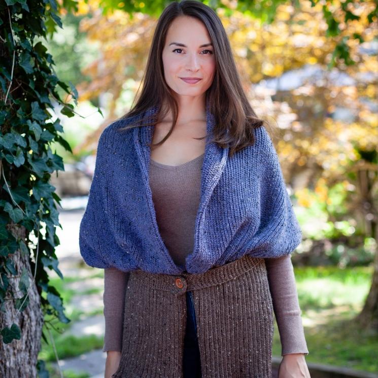 loom knit sweater scarf with belt pattern. PDF Download.