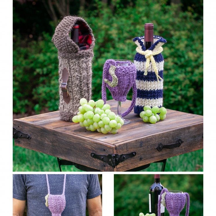 Loom Knit Wine Themed Pattern Collection 3 Pdf Patterns
