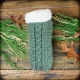 LOOM KNIT SLIPPER WITH CABLE PATTERN. CLOG STYLE UNISEX SLIPPER PATTERN