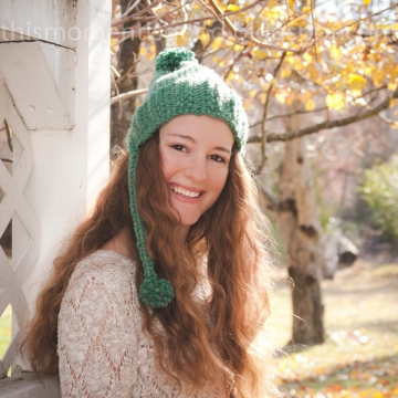 Loom Knit Earflap Split Brim Hat