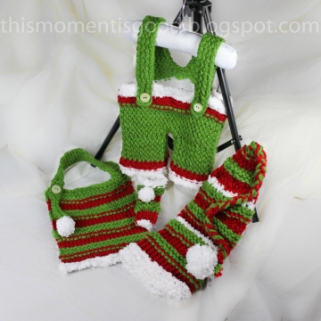 Loom Knit Overall Pattern, booties, bib and Elf Hat Pattern Set