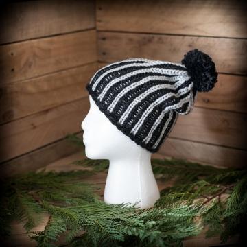 Loom Knit Brioche Hat Pattern, Ski Cap, Slouchy Hat.