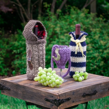 Loom Knit Wine Themed Pattern Collection, 3 PDF Patterns included; Wine glass la