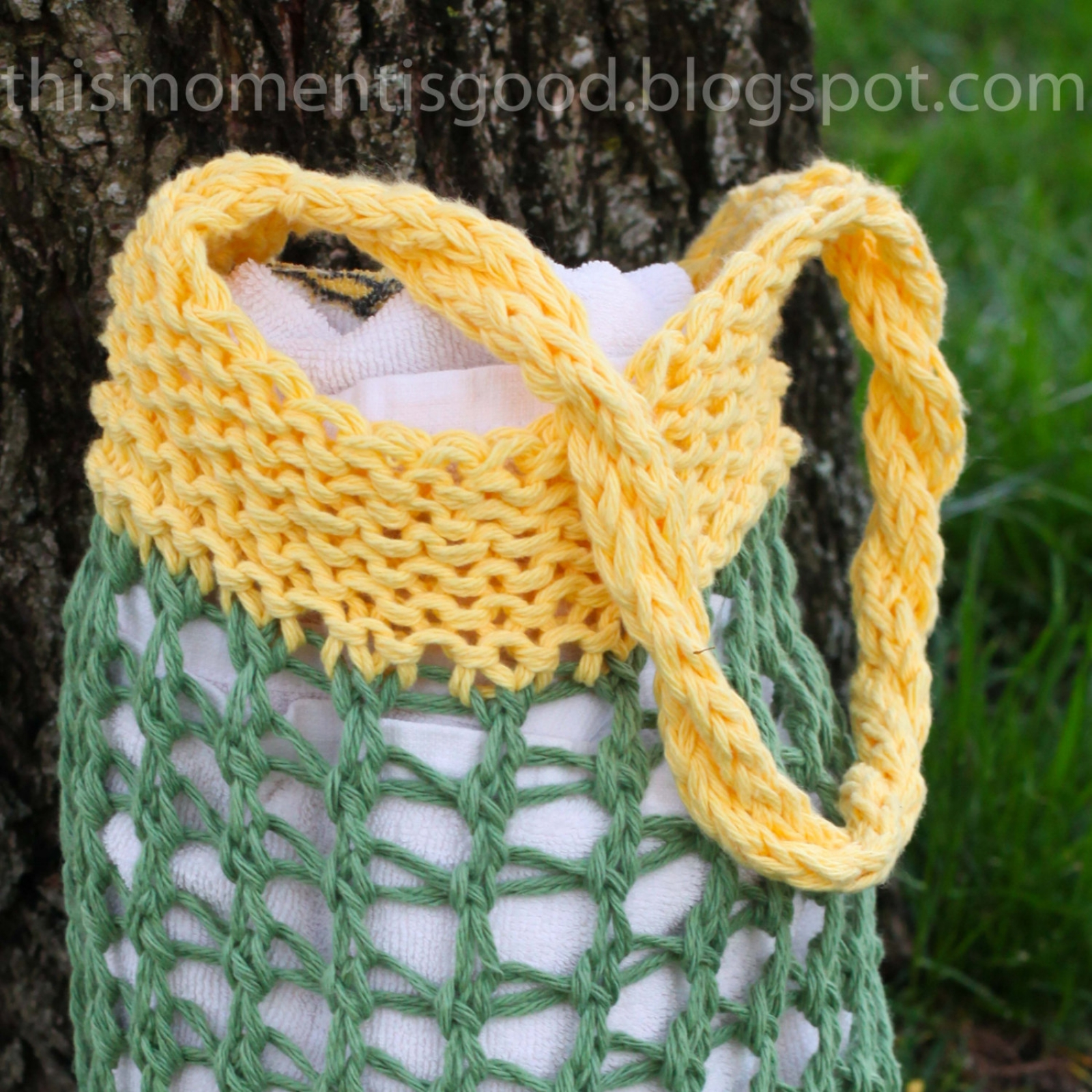 LOOM KNIT MARKET BAG PATTERN. | This Moment is Good
