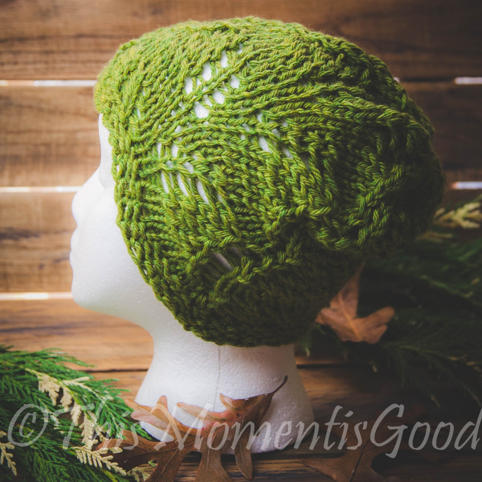 LOOM KNIT FERN LACE HAT PATTERN, LIGHTWEIGHT HAT PATTERN This Moment is Good