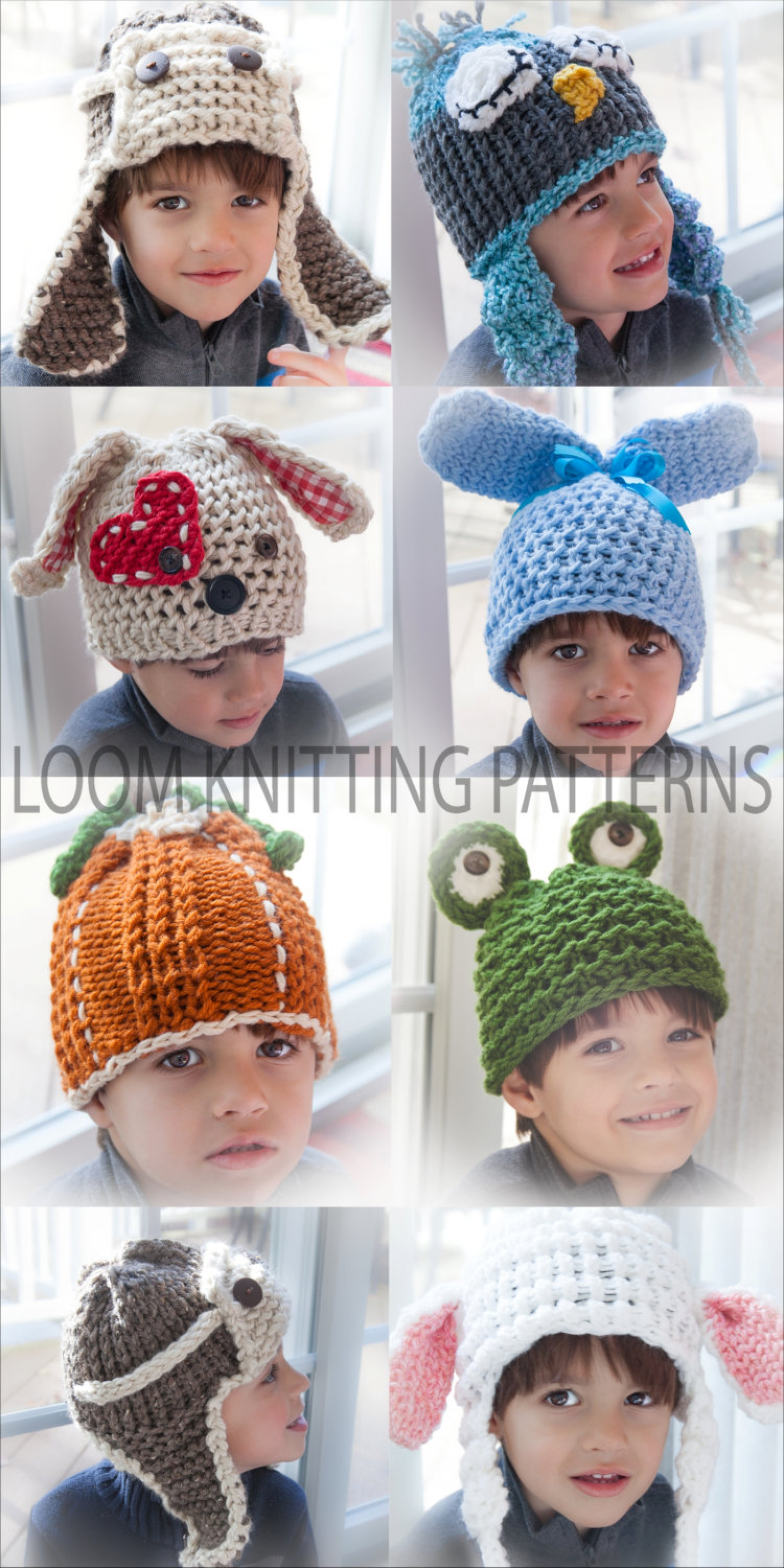 Loom Knit Character Hat Collection 9 Patterns Included