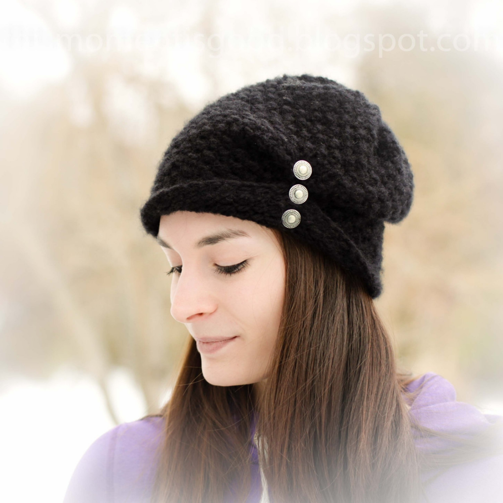 Loom Knit ladies folded brim hat with buttons pattern... | This ...
