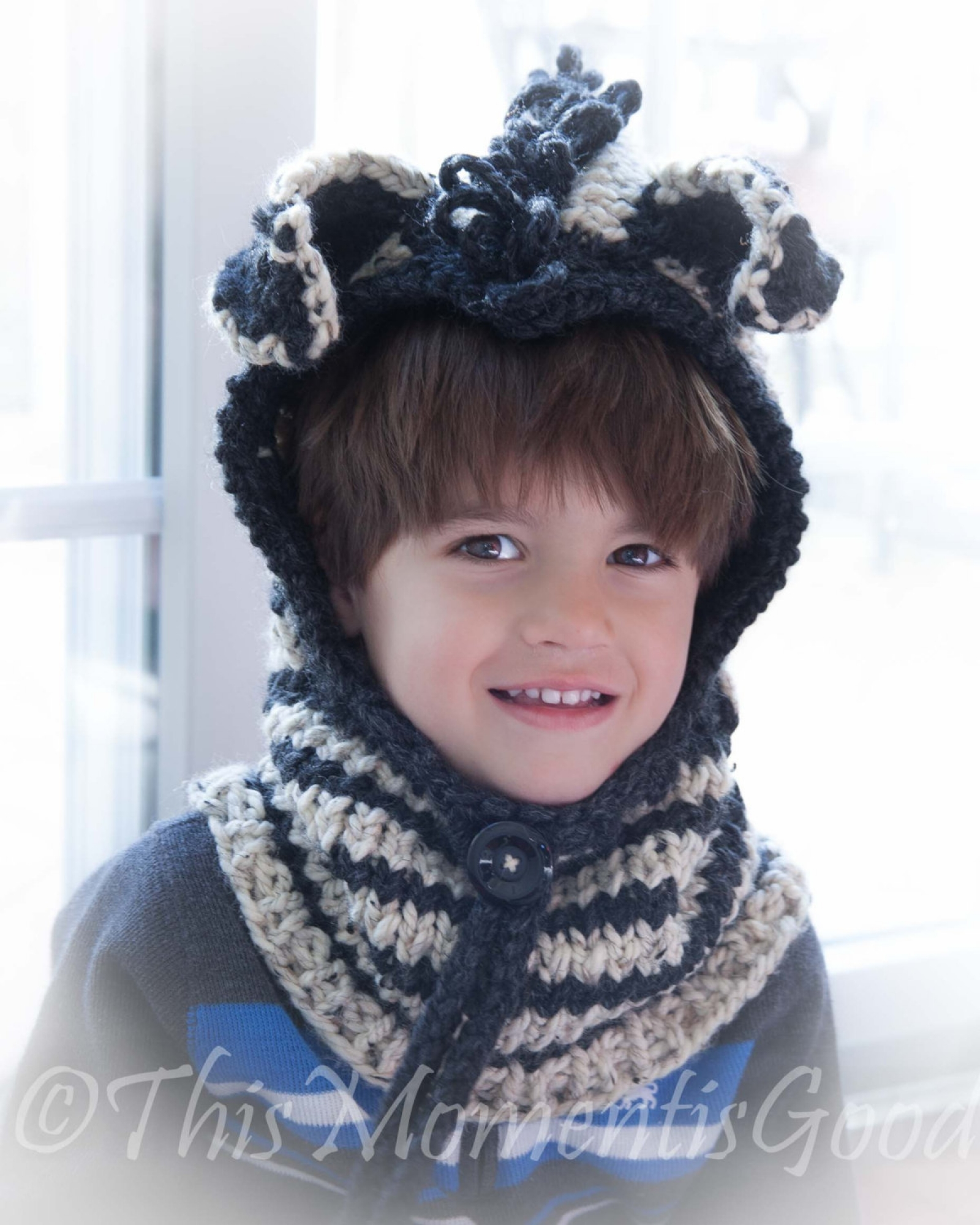 Loom Knit Zebra Hood With Cowl Pattern This Moment Is Good