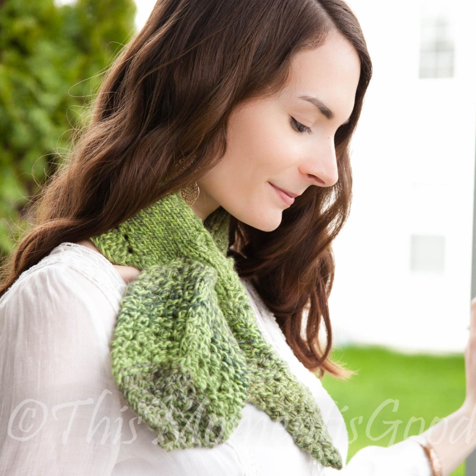 Loom Knit keyhole Scarf PATTERN loom knit Leaf Scarflet Cowl Ascot ...