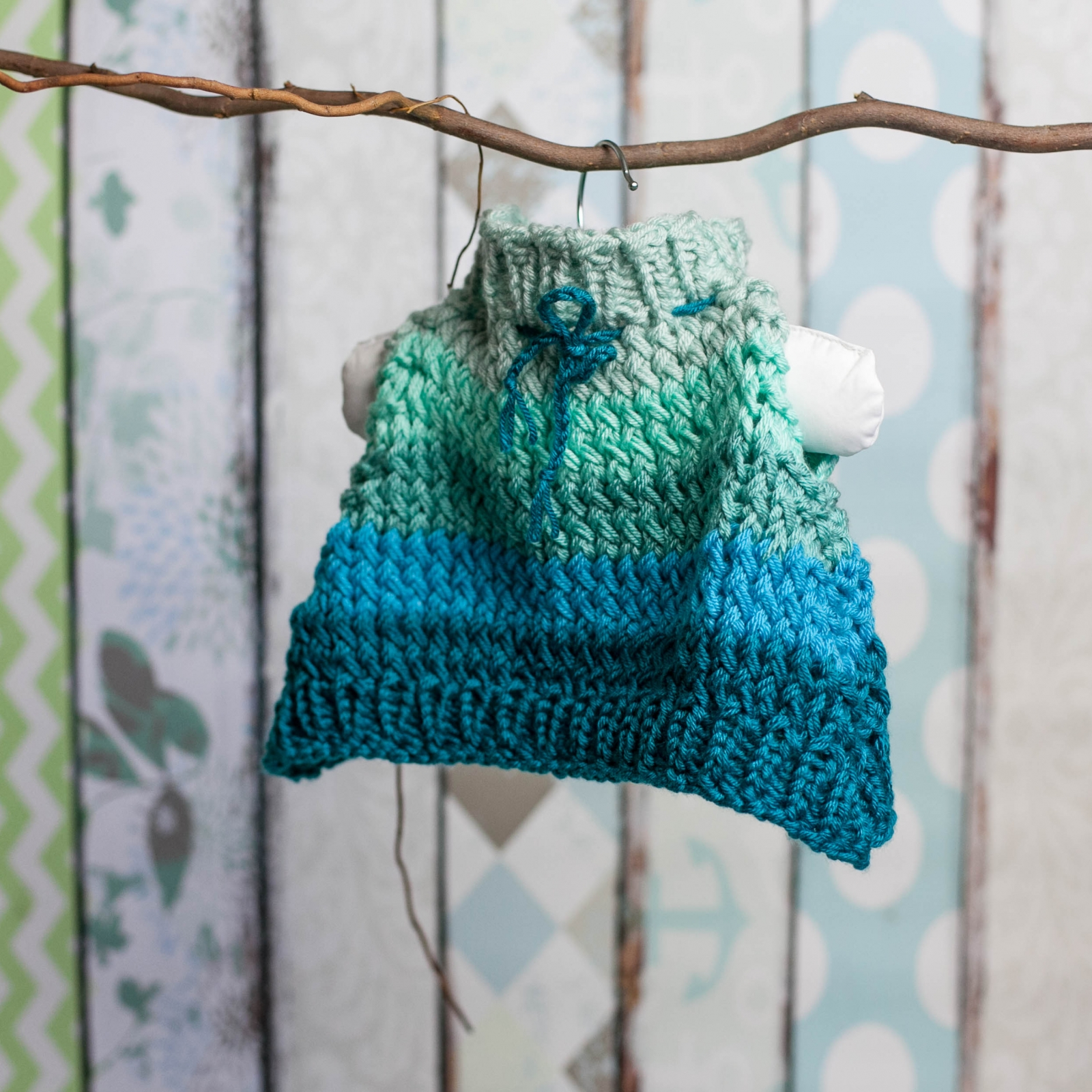Loom Knit Poncho Hat Set Pattern For Newborn Baby Cape Hat With
