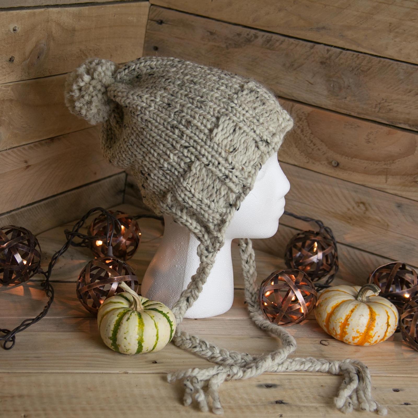 Loom Knit Earflap Hat Pattern Split Brim Hat Bulky