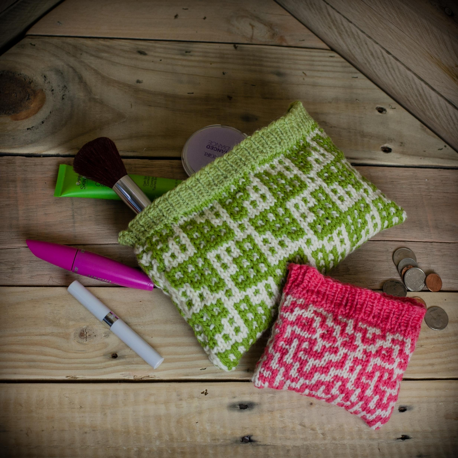 Loom Knit Wallet, Make Up Bag 2 PATTERN Set. Mosaic Wallet Make up ...