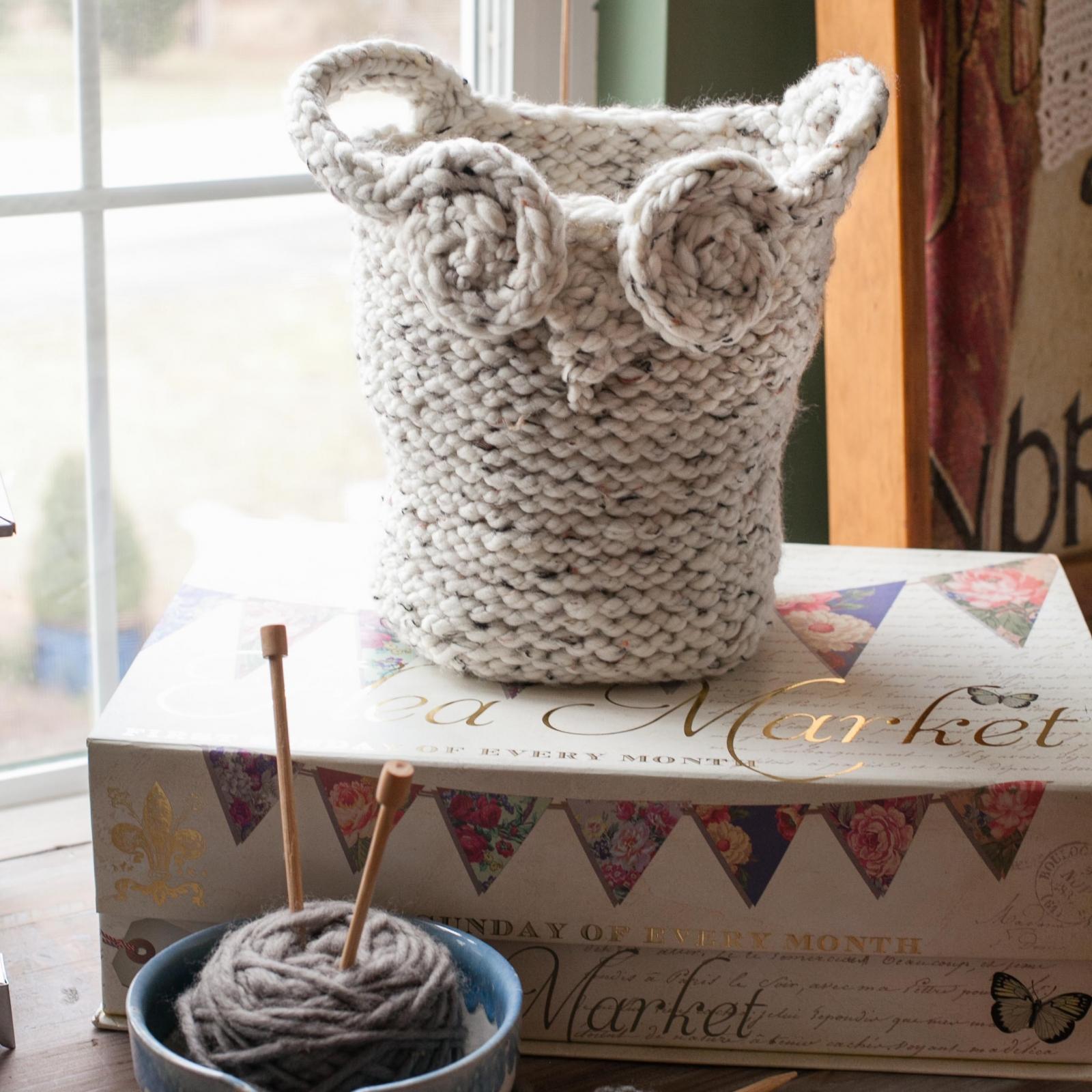 Loom Knit Owl Basket Pattern Yarn Basket Catch All