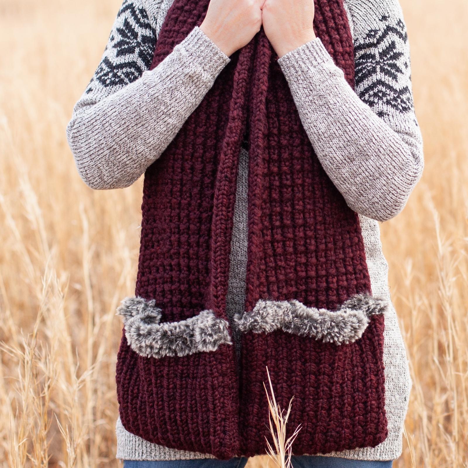 Loom Knit Scoodie Pocket Scarf PDF PATTERN. Warm Wrap With ...