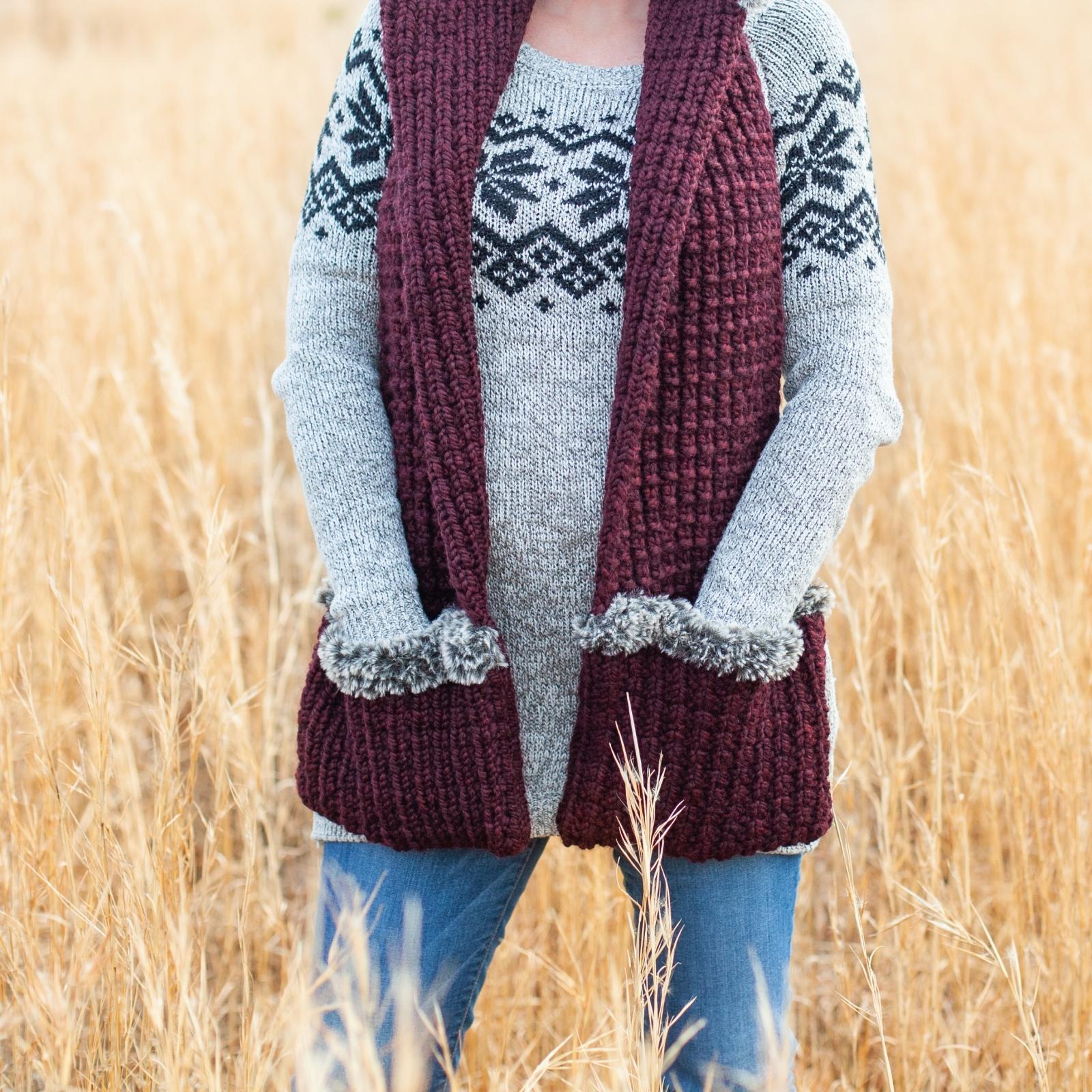 Loom Knit Scoodie Pocket Scarf Pdf Pattern Warm Wrap With