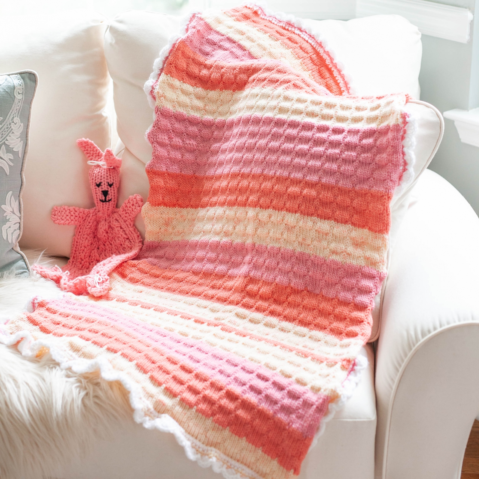 Loom Knit Baby Blanket With Crochet Edging PATTERN. | This ...
