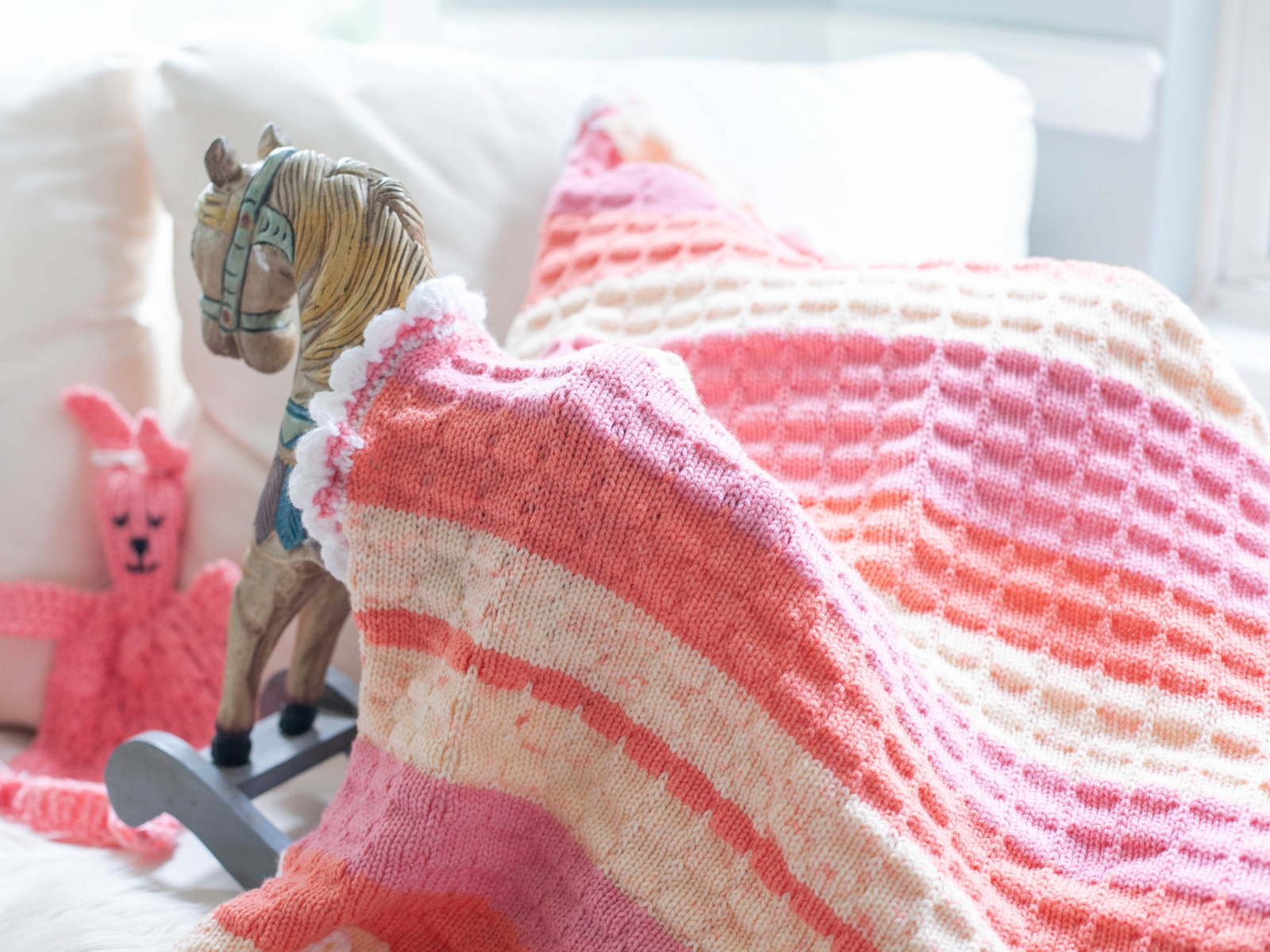 Loom Knit Baby Blanket With Crochet Edging Pattern This