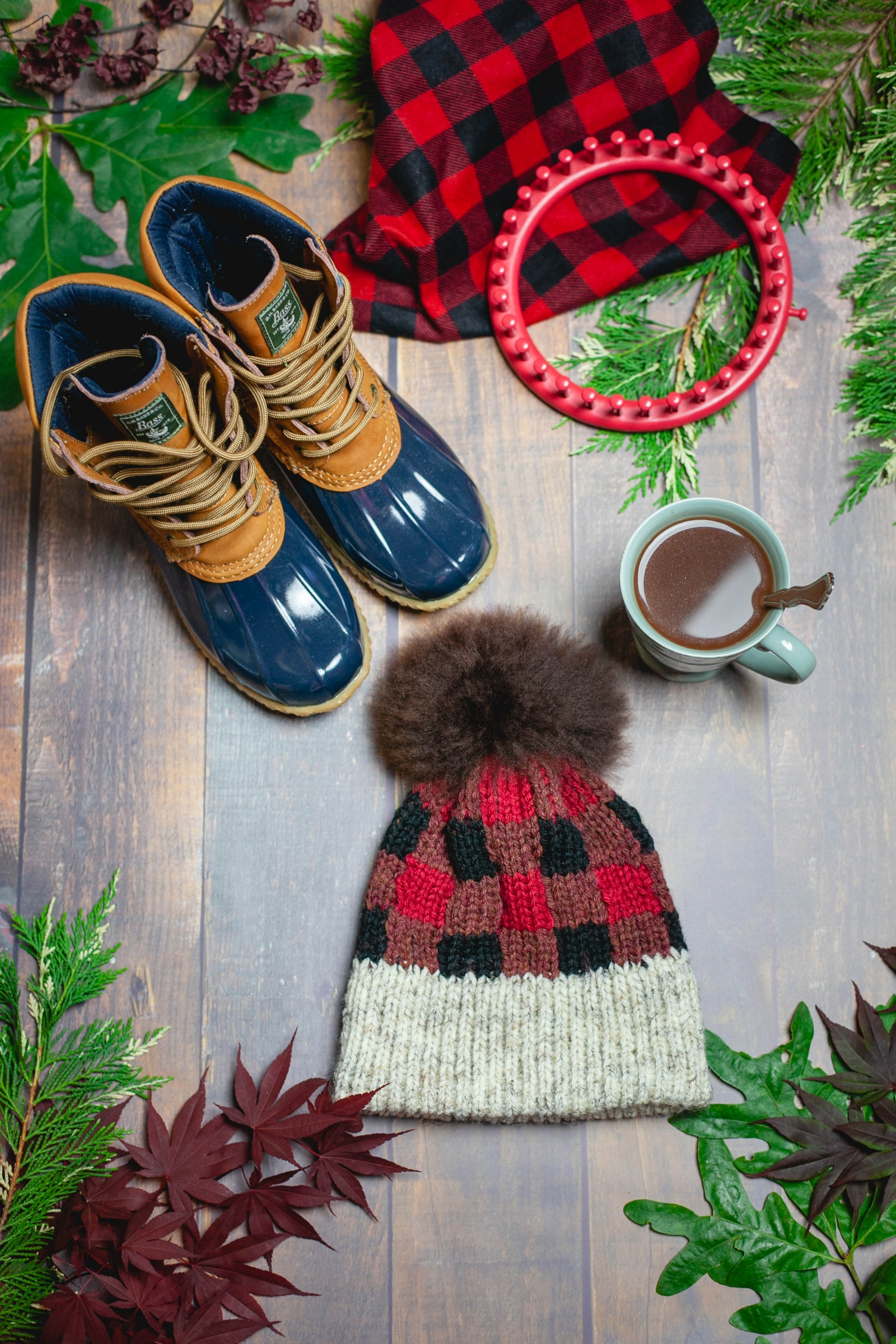 Loom Knit Buffalo Plaid Hat Amp Boot Toppers Pattern Set