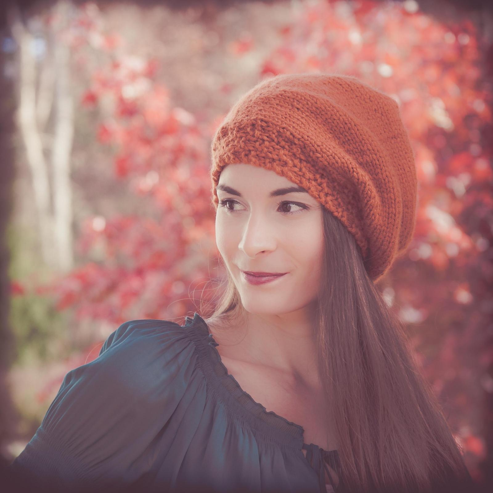 Loom knit beret, hat PATTERN, painters cap, slouch hat, adult teen ...