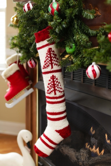 loom knit fair isle christmas stocking
