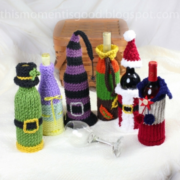 Wine Bottle Covers, Loom Knitting Pattern!  Six Unique Holiday Wine Bottle Cover Patterns. Great Gift Idea!  PATTERN ONLY!