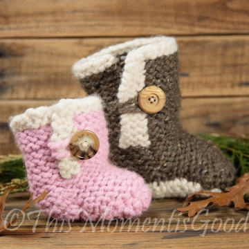 Loom Knit Baby Boots PATTERN!  Loom Knit Baby Shoe Pattern in  2 Sizes Baby & Toddler. Instant PDF PATTERN Download.