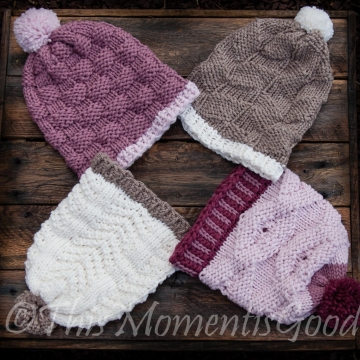 Loom Knit Hat Collection 1 PATTERN Set. 4 PATTERNS included. All patterns utilize Knits and Purls to create the designs. 15 page PDF.
